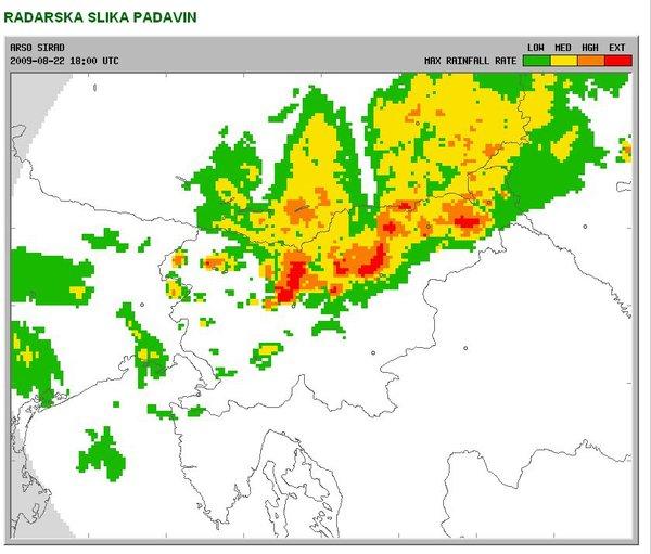 Radarska slika padavin ob 20.00