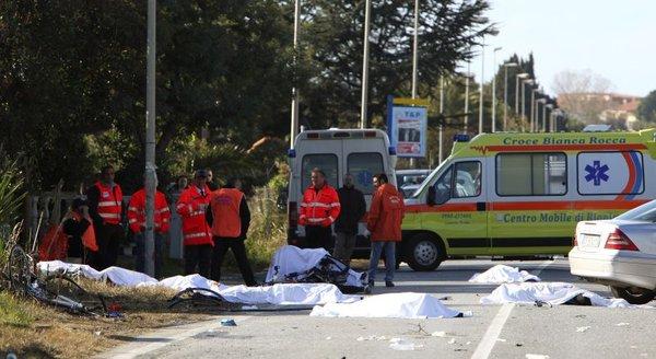 nesreča kolesarjev v Italiji