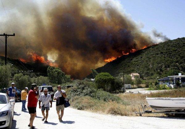 Požar na grškem otoku Evia