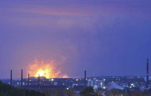 požar v ruskem skladišču orožja