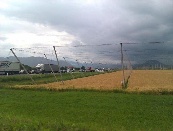 Kolona na izvozu Šentrupert proti Šempetru