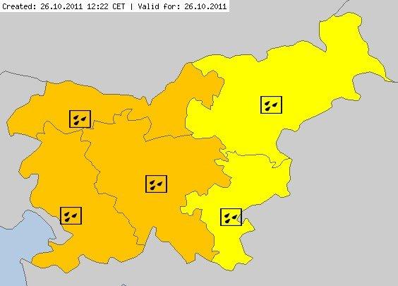 Oranžen in rumen alarm za Slovenijo